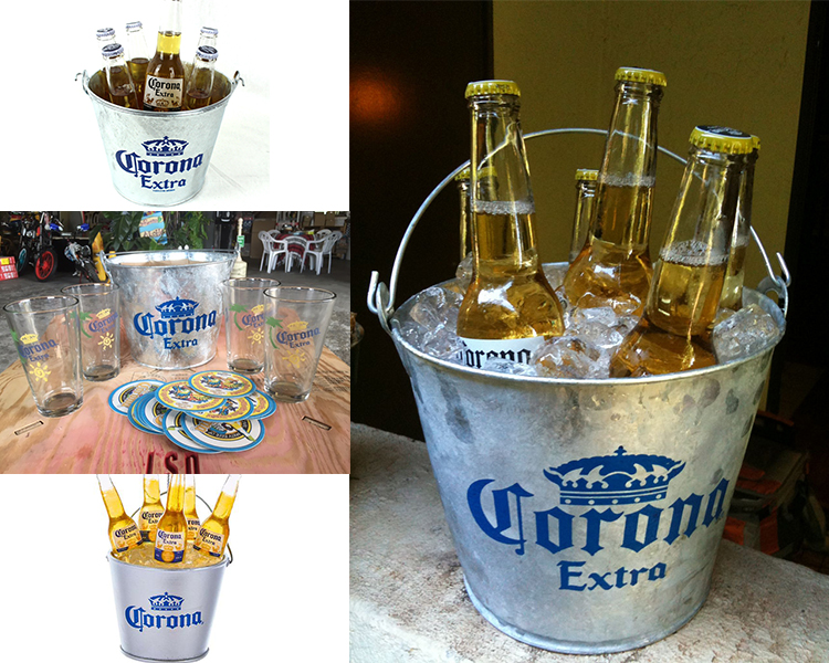 White Power Coated galvanized metal party beer bucket