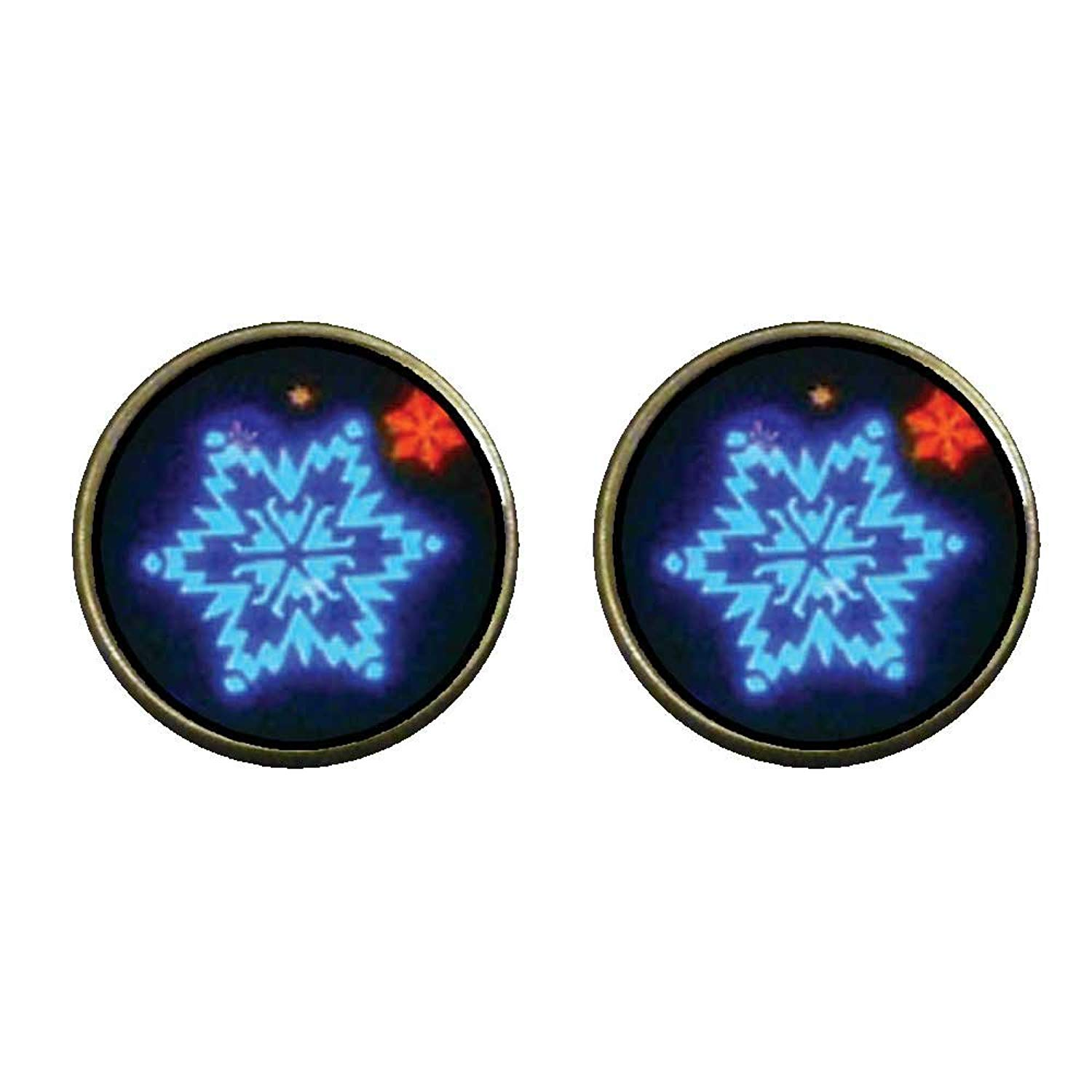 GiftJewelryShop Bronze Retro Style Neon Snow Flakes Photo Clip On Earrings 14mm Diameter