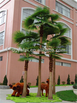 artificial washingtonia palm tree with fake bark/costume to tree Artificial Outdoor Trees