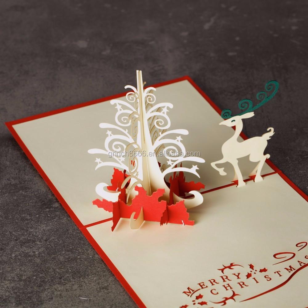 Christmas castle tree elk 3d laser cut pop up paper handmade christmas castle tree elk 3d laser cut pop up paper handmade postcards custom greeting cards xmas kristyandbryce Image collections