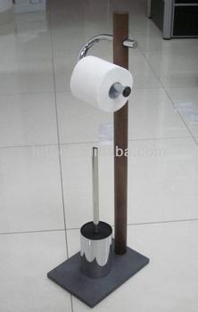 Free Standing Wood Stem Metal Toilet Tissue Holders And Brush Paper Holder Bathroom