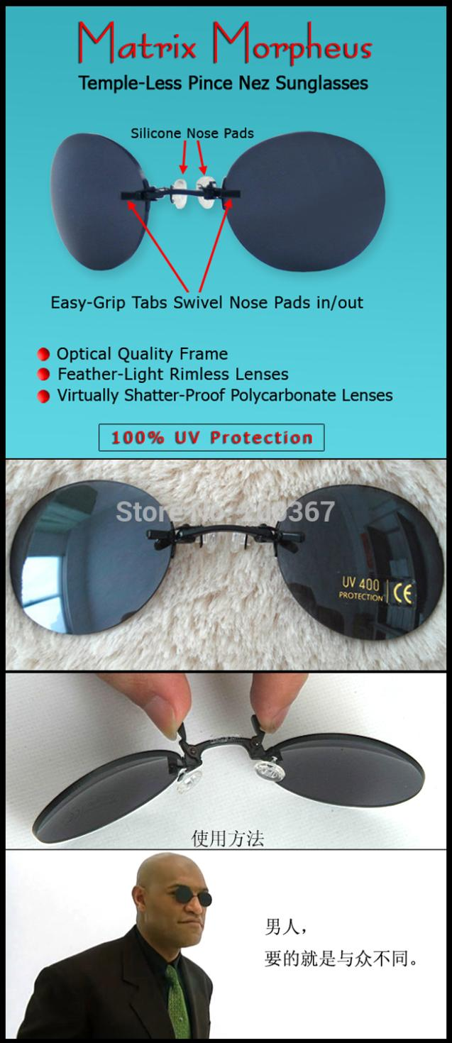 3bf0f07a6a4 New Arrival A113 Model Classic Round Clip On glasses Matrix Morpheus  Sunglasses Movie sunglasses rimless sunglasses men