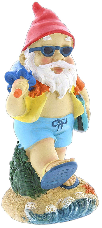 "Mayrich 7""ResinBeach Gnome Figurine (with Umbrella)"