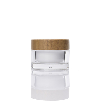 high end cosmetic packaging 30g 50g bamboo cream jar round acrylic jar with bamboo lid wholesale