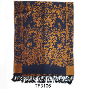 Fashion wholesale tassel jacquard cheap pashmina shawls