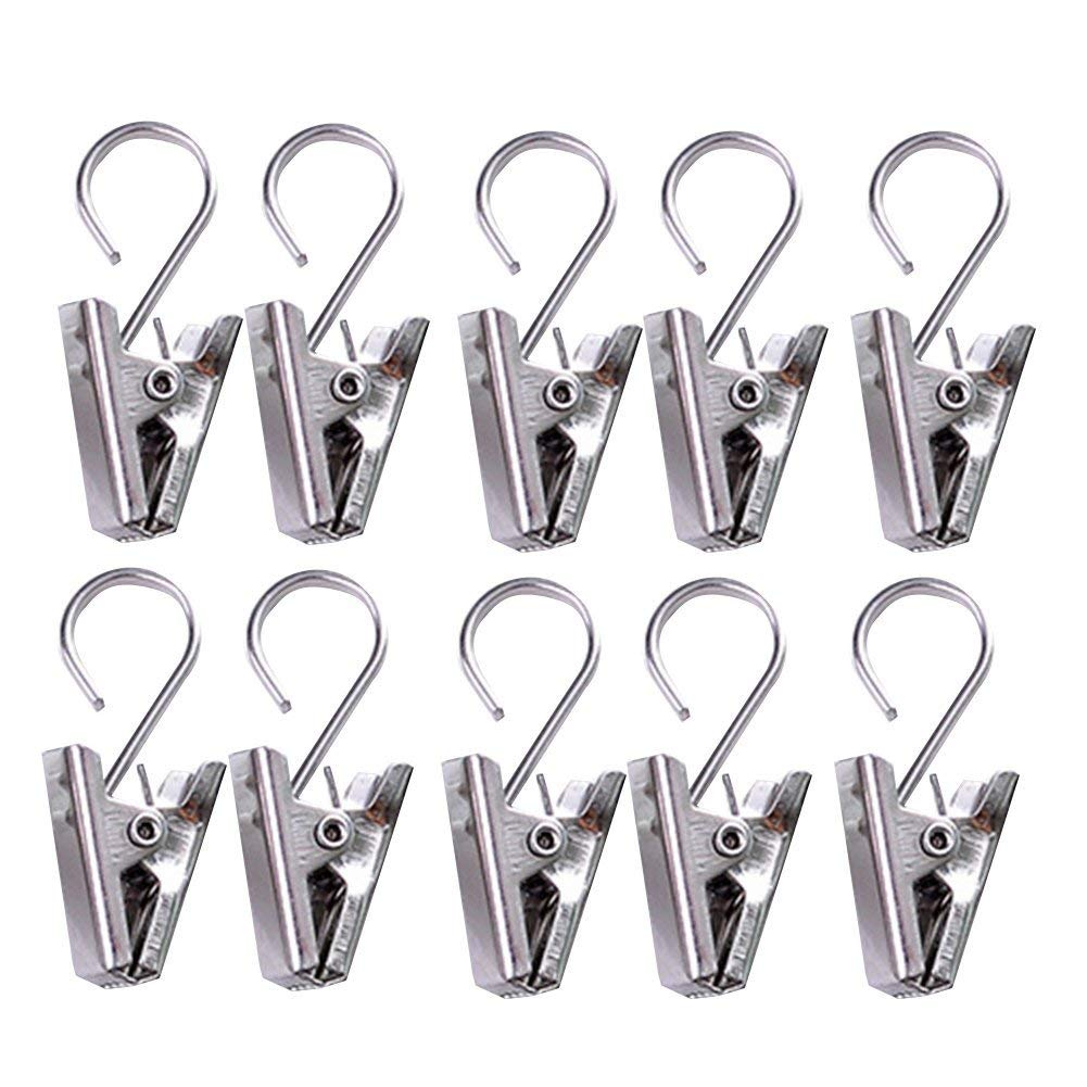 myonly 10 Pieces Stainless Steel Clips with Hook Party Light Hanger Multifunction Outdoor Activities Wire Holder for Party Supplies, Curtain, Photos, Home Decoration