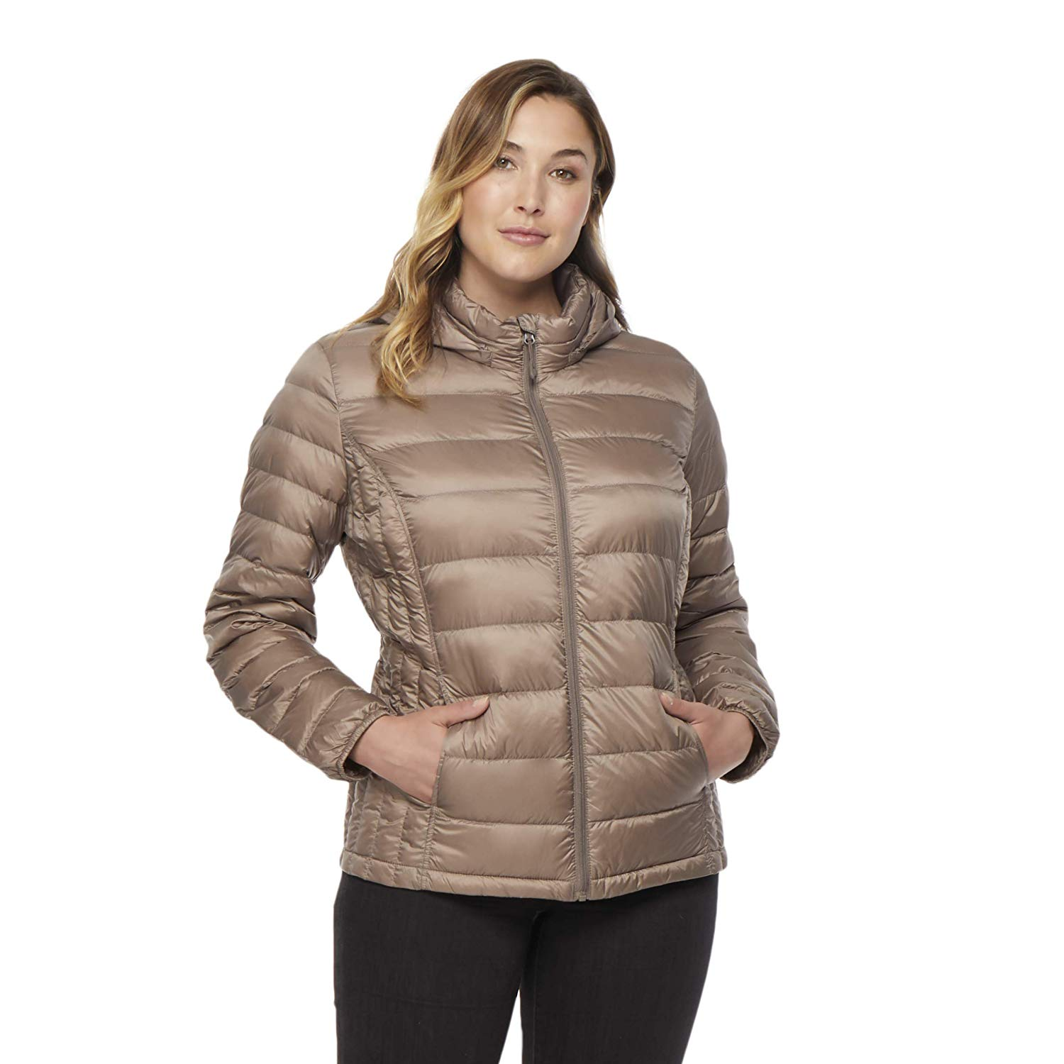 085a3c1e564 Get Quotations · 32 DEGREES Womens Plus Ultra -Light Hooded Down Packable  Jacket