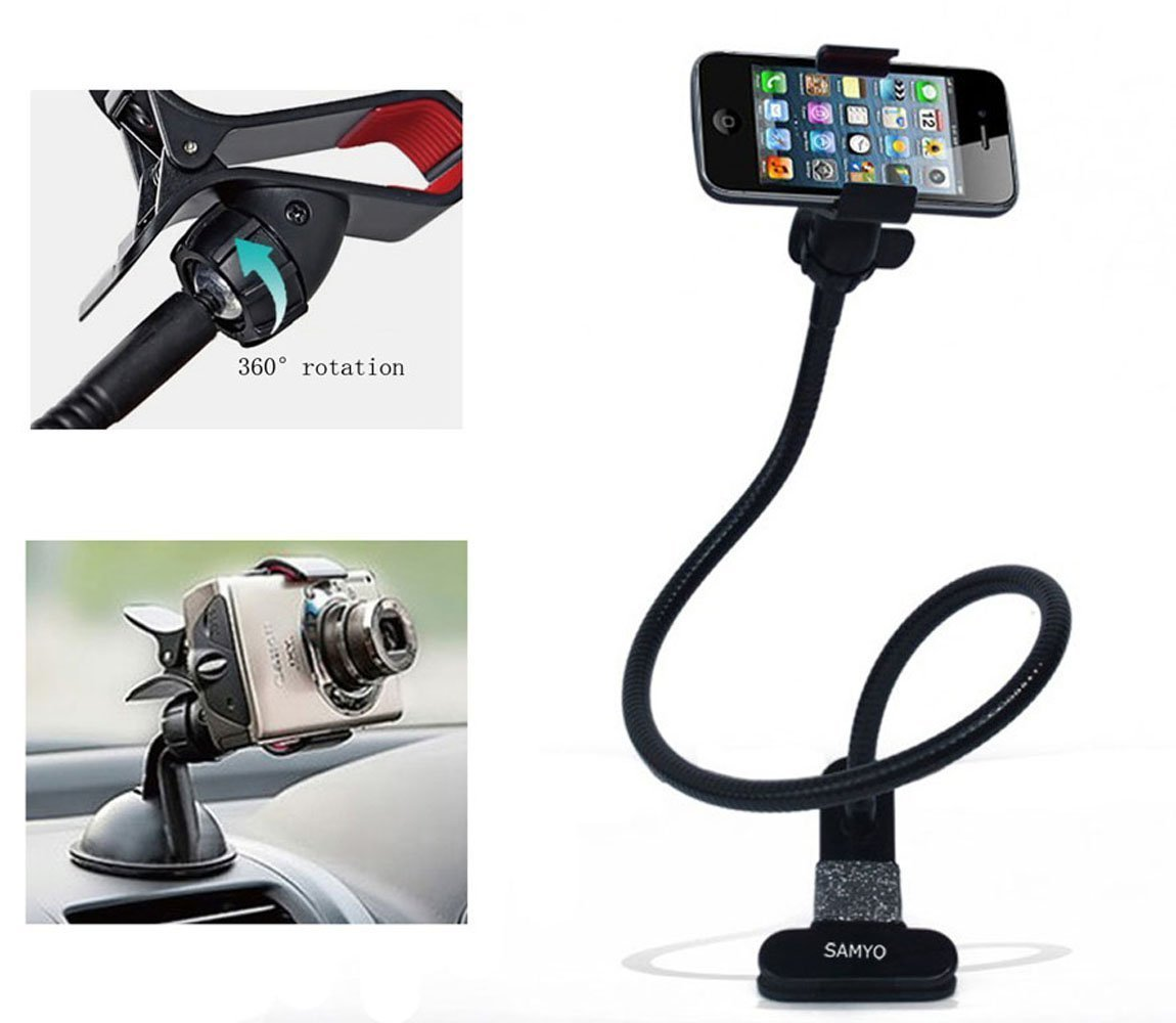 Samyo Hands Free Mobile Phone Mount(included Suction Mount for Car) for Bed, Car, Desk, Chair with Universal Mobile Gooseneck Clamp Flexible Long Arms Phone Mount Holder Desktop Bed Lazy Bracket Mobile Stand Support All Mobiles and Cameras Wide Less Than 95mm or 3.7 Inches (Black)