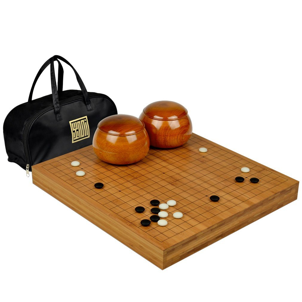 Collectible Wei Qi Go Game Set Melamine Single Convex Stones and Bamboo Bowls Elegant Hollow Out Bamboo Storage Case THY TRADING