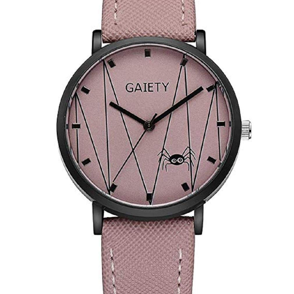 Spider Pattern Watches for Women, Windoson Unique Analog Lady Watches Female Watches Casual Wrist Watches for Women Comfortable PU Leather Watch (Pink)