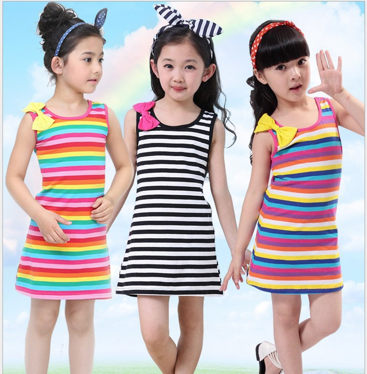 2fdf2fc81 High Quality Iridescence Cotton Dress For Kids Girl Summer Dress ...