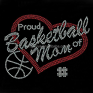 Bling Basketball Mom Hotfix Rhinestone with Love Heart Design