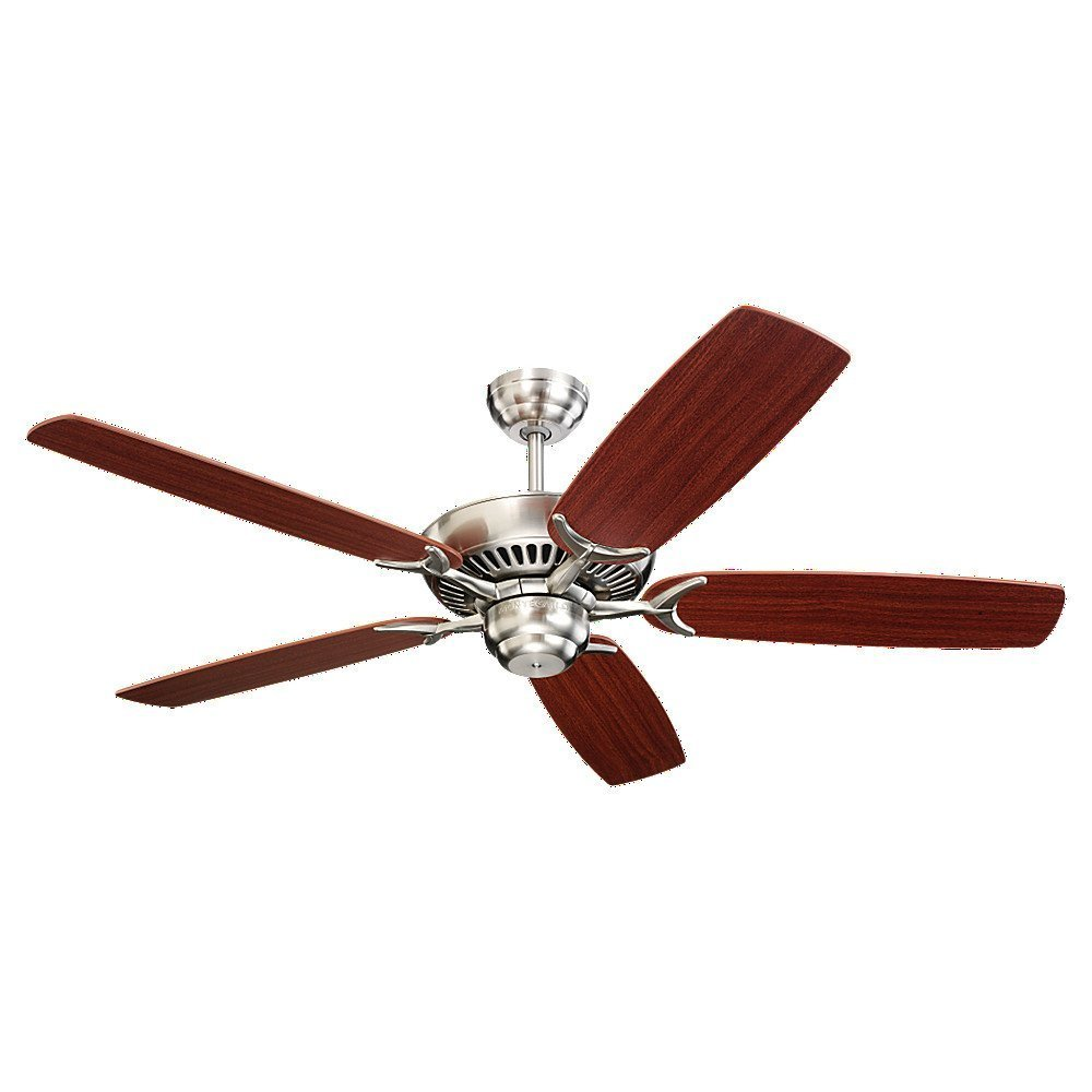 Get Ations 52 Colony 5 Blade Monte Carlo Ceiling Fans With Brushed Steel Mahogany Blades Finish