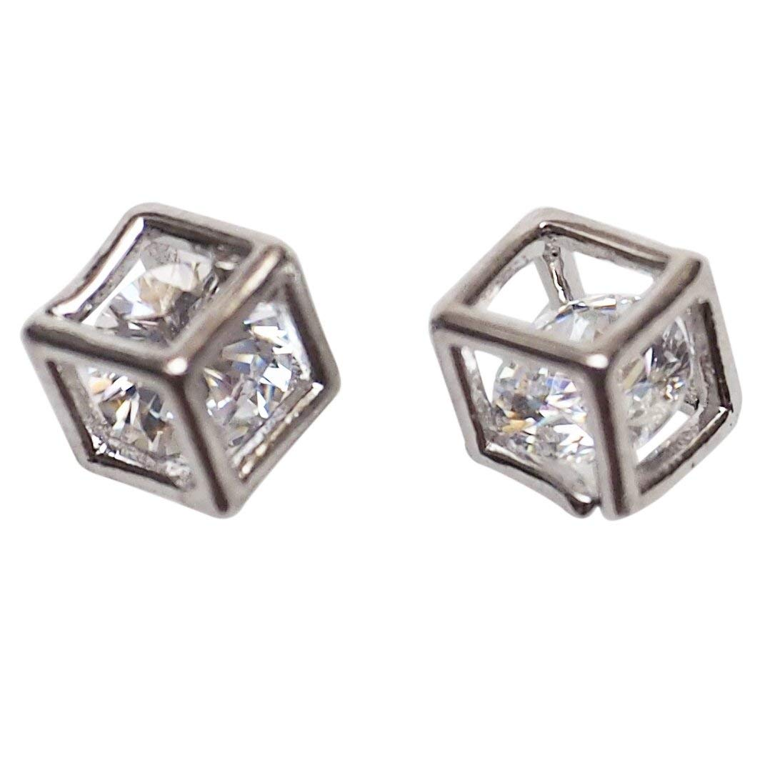 Miyabi Grace Women's Comfortable Stylish Cube Simple Cubic Zirconia Crystal Invisible Clip On Stud Earrings Silver tone