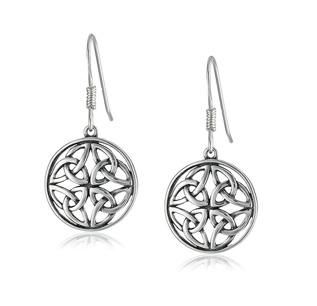 Women Jewelry Fashion Sterling Silver Celtic Knot Round Drop Wire Earrings