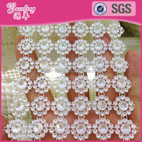 10Yard 6 Rows Flower Shape Pearl and rhinestone mesh trimming for jewelry making