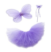 Purple Pink Fairy Princess Tutu Wing Wand Set For Girls Dress up