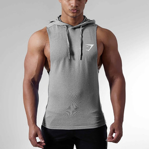 Drop shipping moq 1 wholesale man custom gym sleeveless muscle hoodie