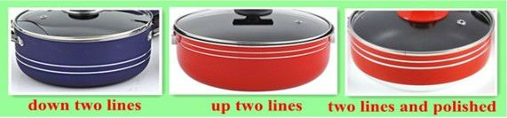 11pcs  classic aluminum  ceramic non-stick  cookware  heathly  home cooking pot and pan set with riveted SS handle