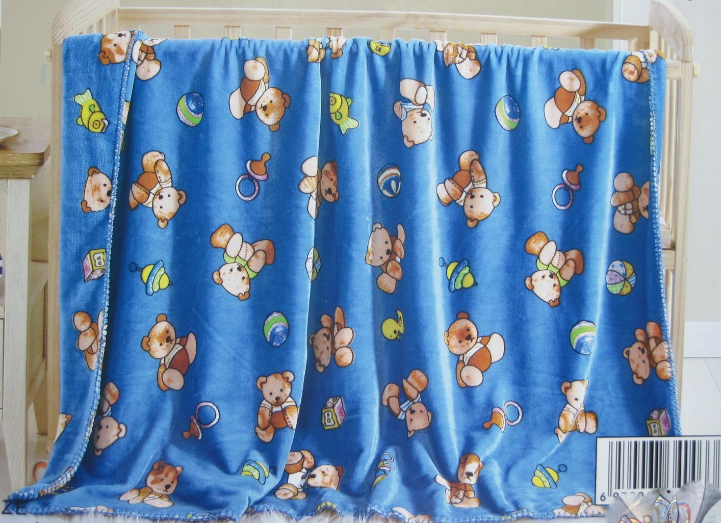 Teddy Bear Design Printed Double Sides 2 Ply Gold Mink Flannel Super Soft Baby Toddler Boys Girls Children Blanket Throw --- Teddy Bear on Blue