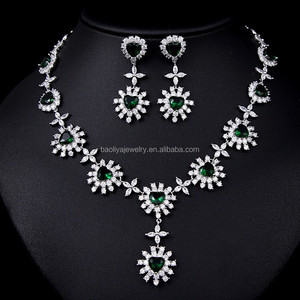 Wholesale jewelry set green 18k gold plated heavy indian fashion crystal 2015 women wedding african beads bridal jewelry set