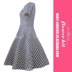 European Style High Quality Fashion Casual Tartan Short Sleeve Girl Dress