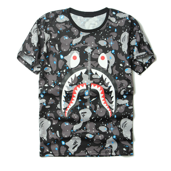 25c169c7 japanese hip hop shark mouth pattern t shirt/printing short sleeve t-shirt