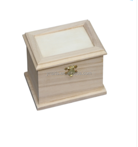 Home decor handmade wood craft pine unfinished hinged wooden storage boxes