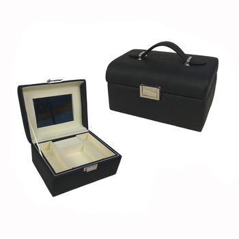 Wholesale custom black luxury mirror leather jewelry storage box