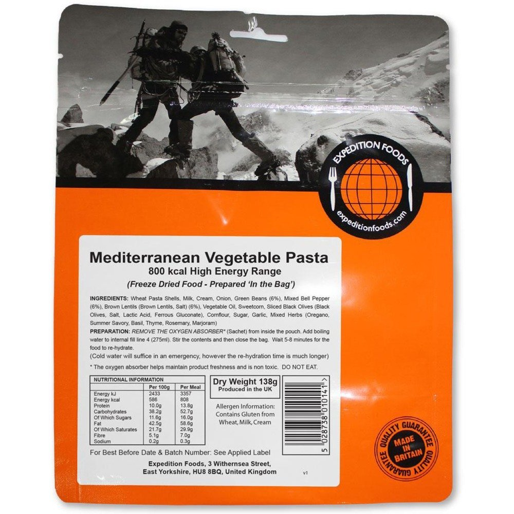 EXPEDITION FOODS MEDITERRANEAN VEGETABLE PASTA (HIGH ENERGY SERVING 800KCAL)
