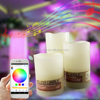 3 Sets Flameless LED Mood Light Candles App Wireless Remote Controlled Real  Wax