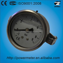 high quality axial mounting stainless steel oil hydraulic manometer water pressure gauge meter with U clamp