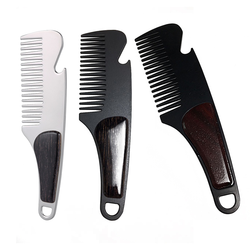 WB200-570 Men's Beard Styling Template Stainless <strong>Steel</strong> New Design Metal Teeth Pocket <strong>Hair</strong> Beard <strong>Comb</strong> With Sandalwood
