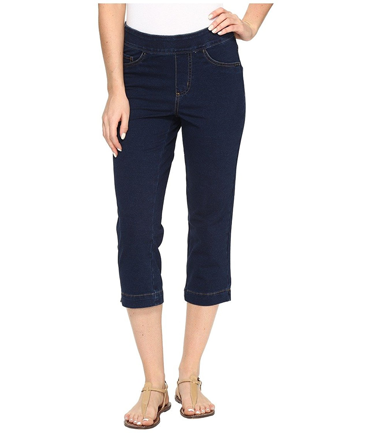 8736b6feaaa Get Quotations · FDJ French Dressing Jeans Womens Comfy Denim Wonderwaist  Pull-On Capris In Indigo