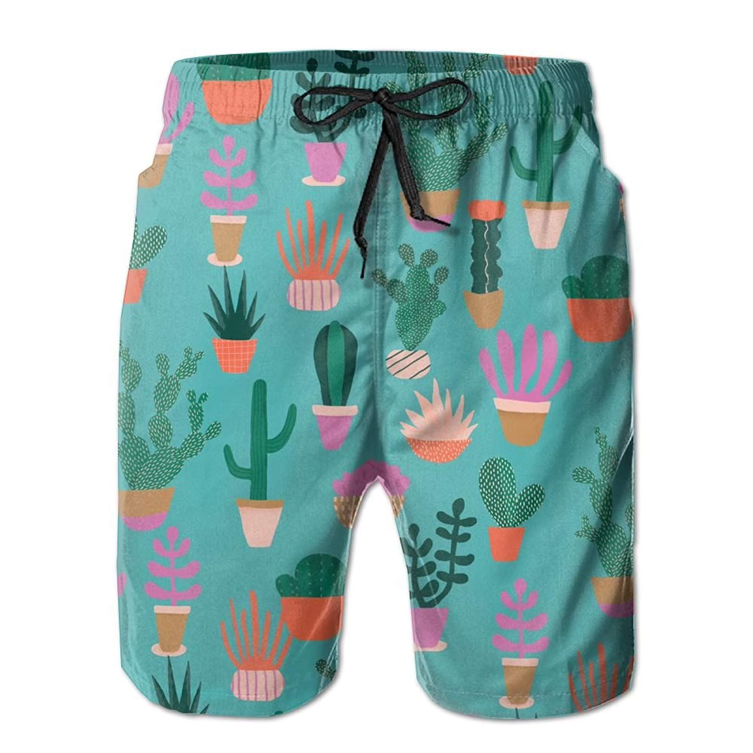 e43ecfc348 Get Quotations · Monwe Cactus Print Boys Summer Casual Shorts,Beach Shorts  Swim Trunks