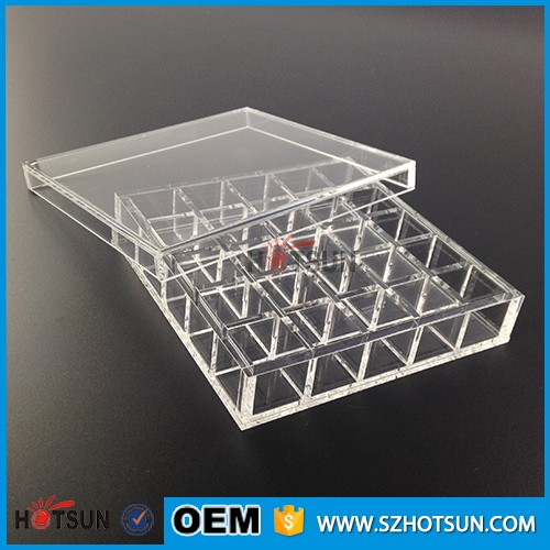 Multi compartments clear acrylic box 25 divisions perspex package case plexiglass box with lid