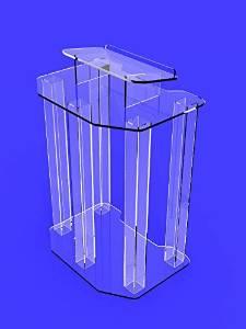 FixtureDisplays Plexiglass Acrylic Podium Pulpit Lectern Clear Transparent Lucite Ship Unassembled 1803-4