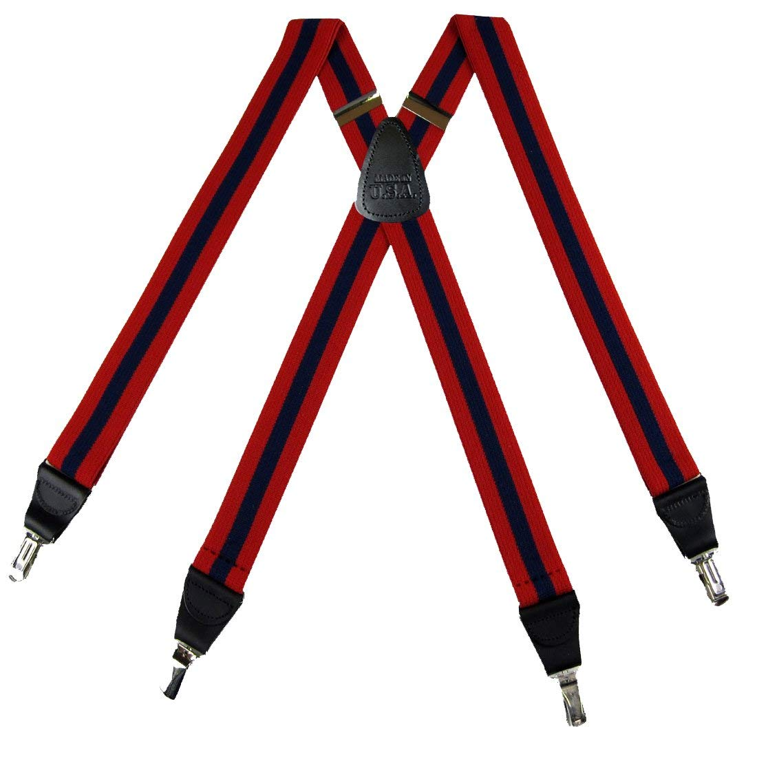 Navy Mens Solid Suspenders for pants trousers Made in the USA