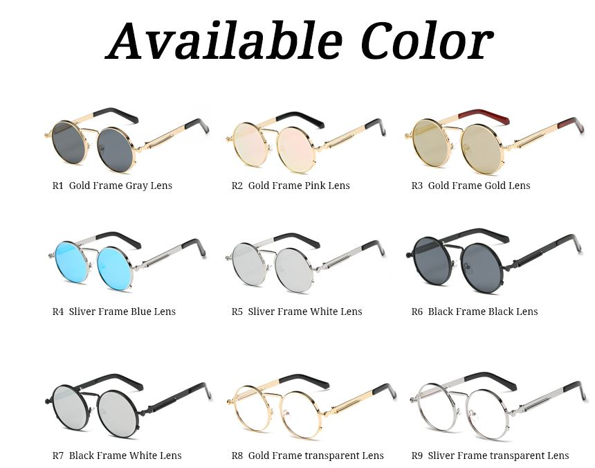 d26c149817f8 Steampunk Sunglasses Round Gold Frame for Men Metal Small Gothic Sunglasses  Shades Brand Designer Sunglasses for