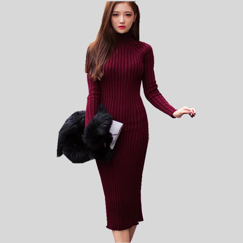 2016 Fashion Women font b Winter b font Dress Turtleneck Long Sleeve Knitted Sweater Dress Slim