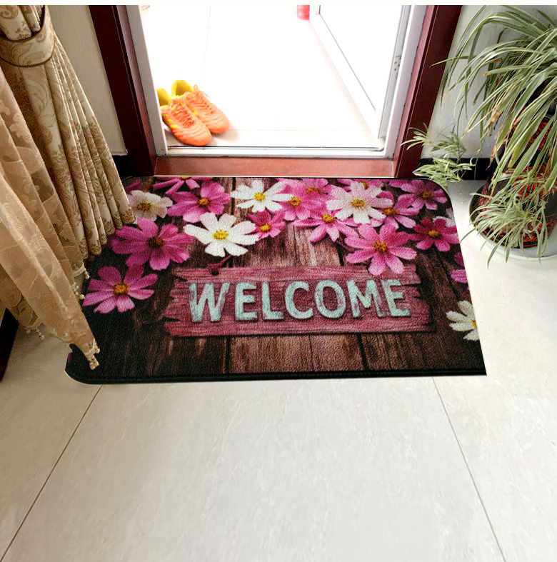 100% Polyester Printed Loop Pile Customized Pattern Door Mat