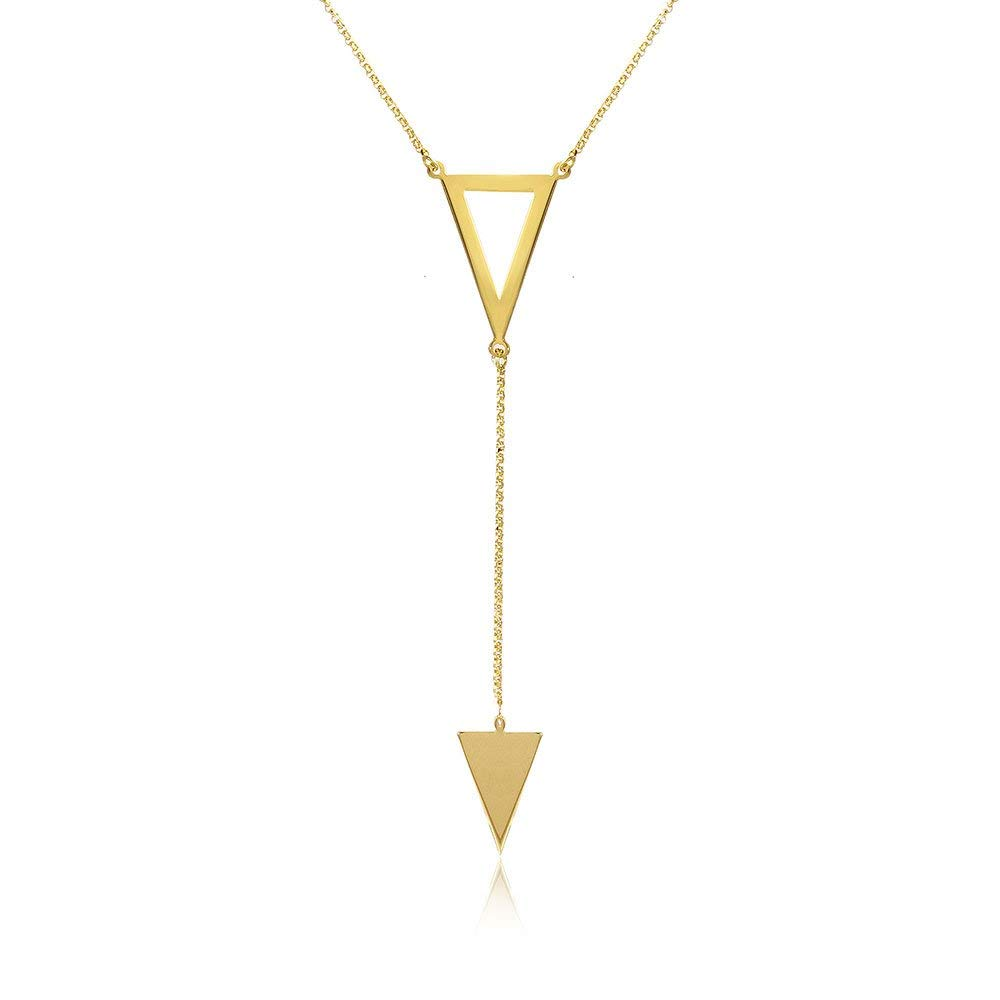 Sterling Silver 14K Gold Plated Italian Triangle Y Shape Lariat Necklace, 16-18 Inches Adjustable