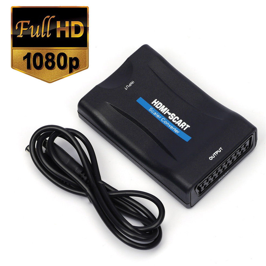 1080 P HDMI scart zu HDMI Composite Video Stereo Audio Adapter mit Usb-kabel Für Sky Box HD TV DVD STB