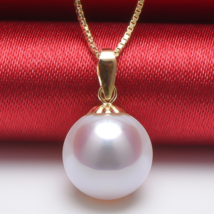 7-7.5mm 3A grade 18K Pure Yellow Gold Real Natural Seawater Japanese Akoya Pearl Pendant Necklace