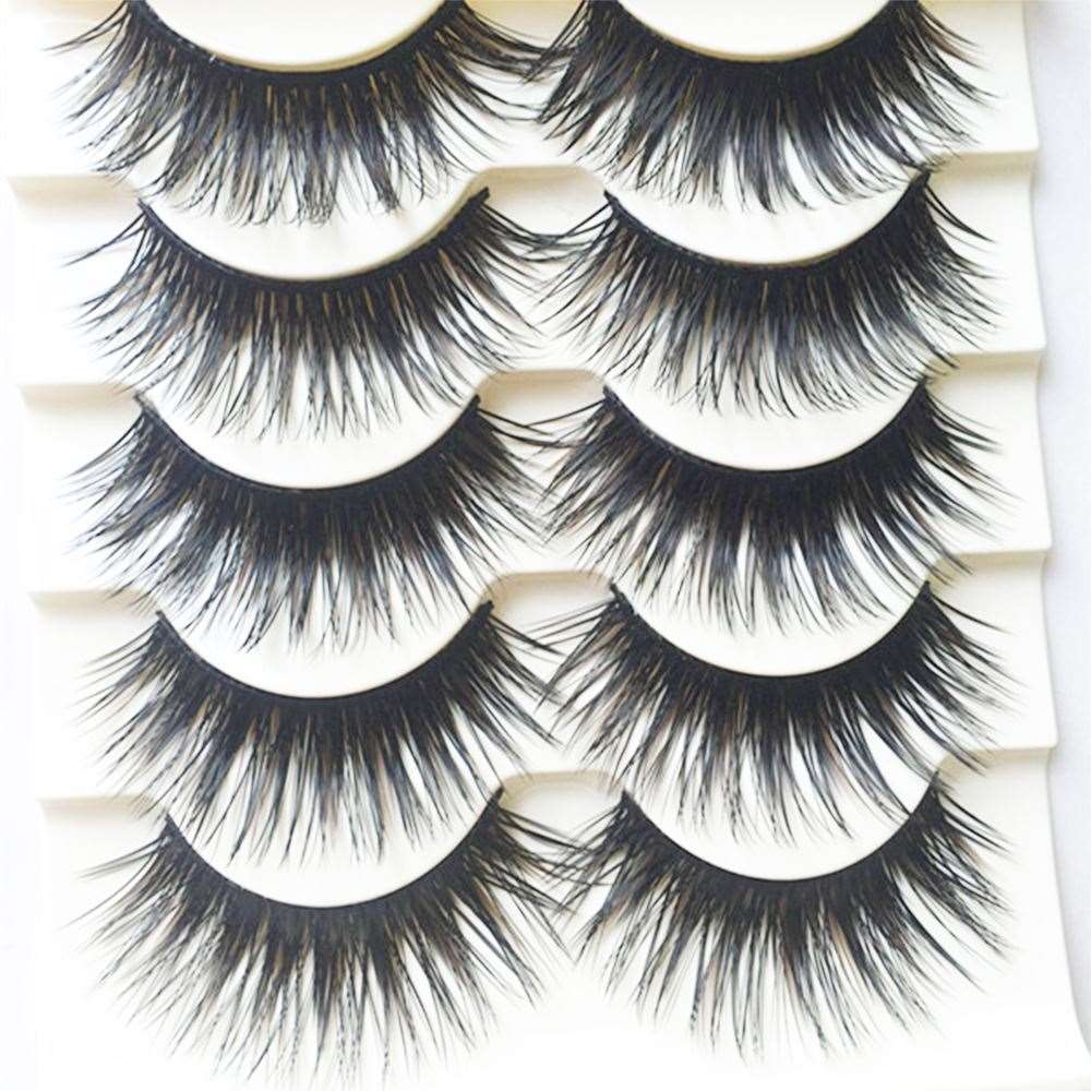 5 Pairs Makeup Black Natural Long Cross Fake Eye Lashes Handmade Thick False Eyelashes Tools