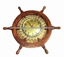 Marine style wall hanging Wooden ship wheel clock with brass pineapple design
