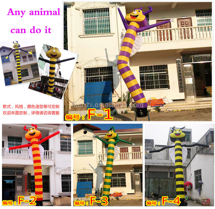 Custom bee animal inflatable air dance fabric for sky dancer