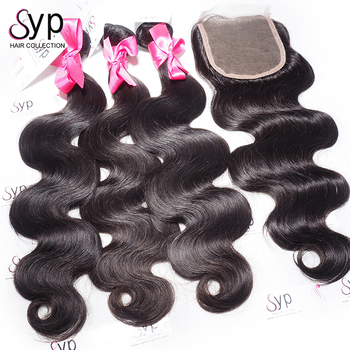 Wick Natural For Weaving,Remy Hair Weaving London,3 Bundles With 1 Piece  Swiss Lace Closure Lace Size 4 by 4
