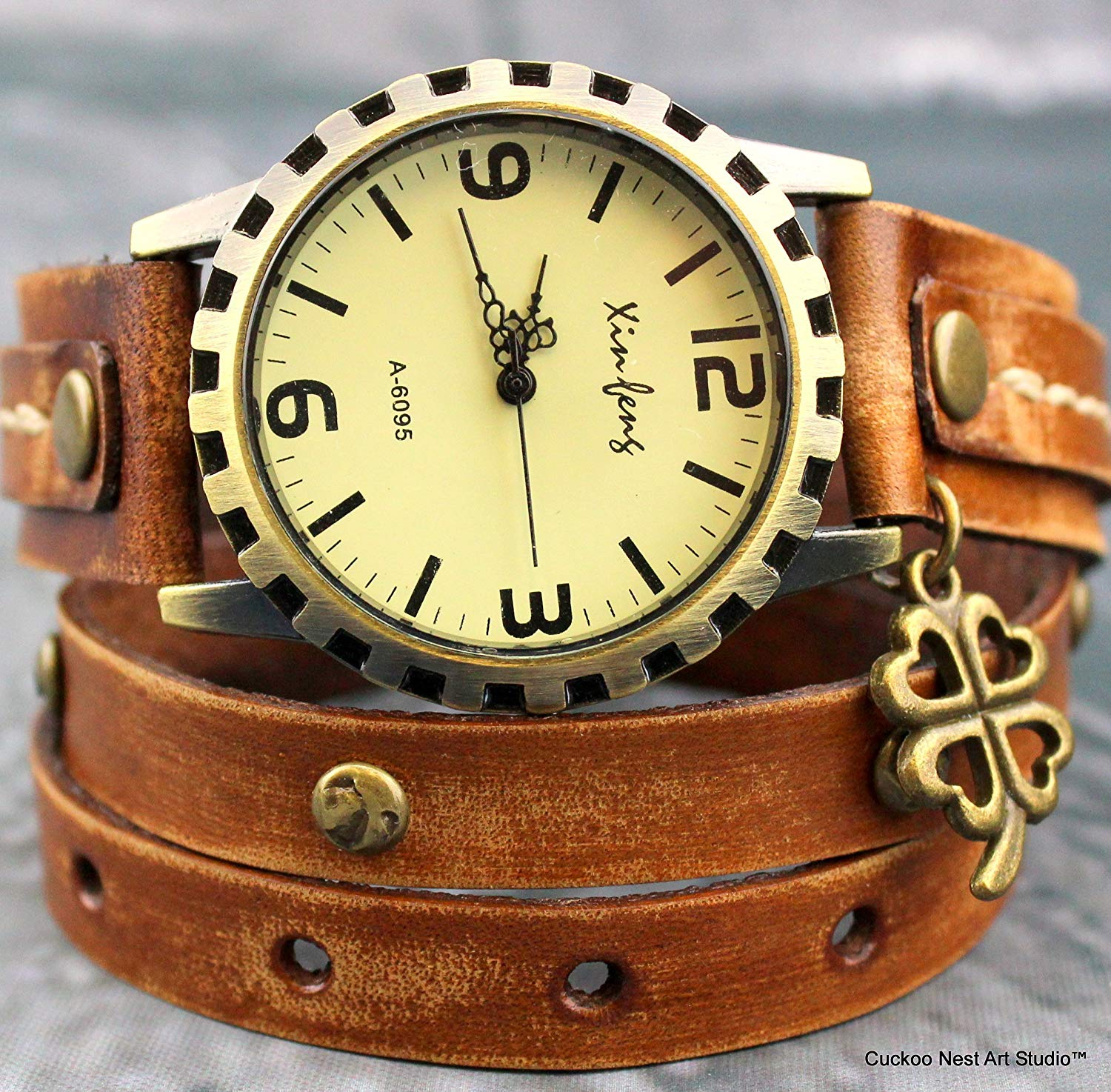 35394827b Distressed brown leather watch with four leaf clover charm, Brown Leather  Wrap Watch, Brown