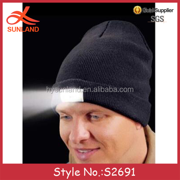 S2691 new style wholesale winter outdoor night fishing light beanies led hats